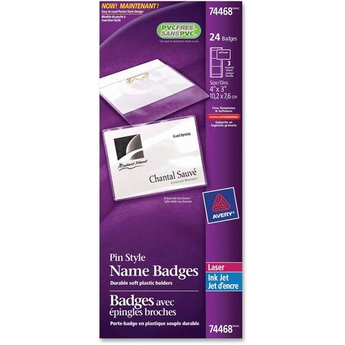 """Avery® Name Badge Label Kit - 4"""" x 3"""" Length - Rectangle - Laser, Inkjet - White - 24 / Pack"""