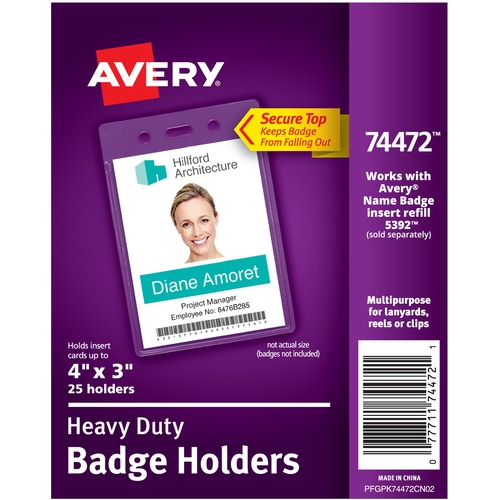 """Avery® Vertical Style Heavy-Duty Badge Holders - Support 4"""" (101.60 mm) x 3"""" (76.20 mm) Media - Portrait - 3.88"""" (98.43 mm) x 2.63"""" (66.68 mm) x 0.50"""" (12.70 mm) x - Vinyl - 25 / Pack - Clear"""