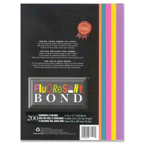 """First Base Fluorescent Bond Laser Laser Paper - Fuchsia, Teal, Yellow, Purple, Orange - Recycled - Letter - 8 1/2"""" x 11"""" - 24 lb Basis Weight - 200 / Pack"""