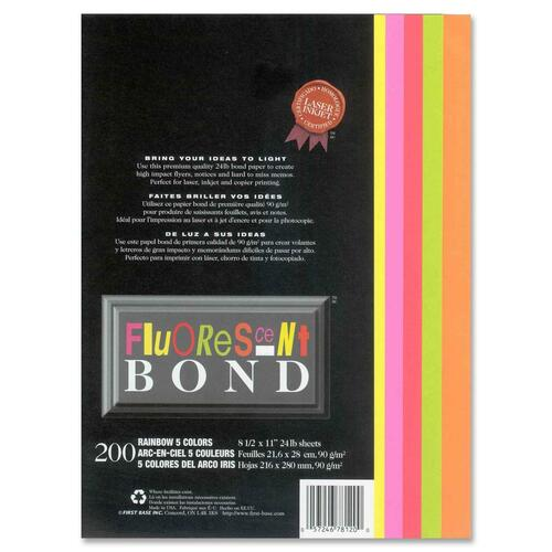 """First Base Fluorescent Bond Laser Laser Paper - Pink, Yellow, Red, Green, Orange - Recycled - Letter - 8 1/2"""" x 11"""" - 24 lb Basis Weight - 200 / Pack"""