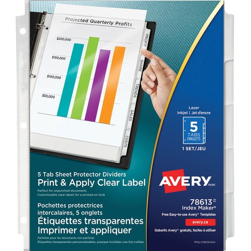 """Avery® 78613 Index Maker View Divider with Clear Labels - 5 Tab(s) - 8.50"""" Divider Width x 11"""" Divider Length - Letter - Clear Divider - White Tab(s) - 5 / Set"""