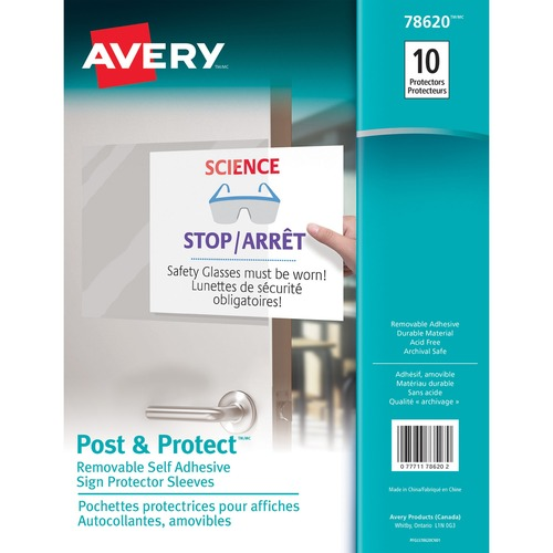 """Avery® Repositionable Display Protector - For Letter 8 1/2"""" x 11"""" Sheet - Rectangular - Clear - 10 / Pack"""