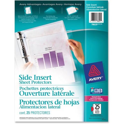 "Avery® Side Insert Sheet Protector - For Letter 8 1/2"" x 11"" Sheet - Ring Binder - Rectangular - Diamond Clear - 25 / Pack"
