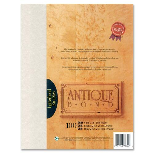 """First Base Antique Bond 78722 Laser Bond Paper - Gray - Recycled - Letter - 8 1/2"""" x 11"""" - 24 lb Basis Weight - 100 / Pack"""