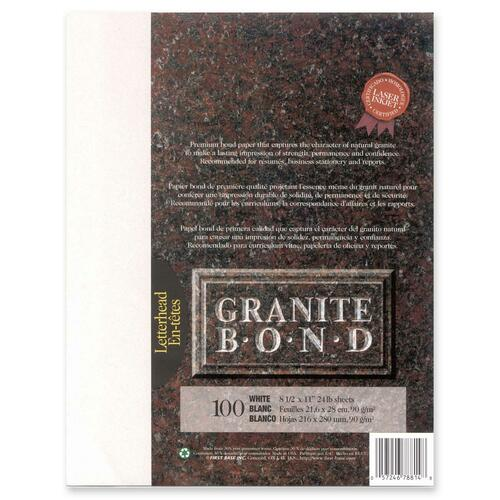 """First Base Granite Bond Laser Laser Paper - White - Recycled - Letter - 8 1/2"""" x 11"""" - 24 lb Basis Weight - 100 / Pack"""