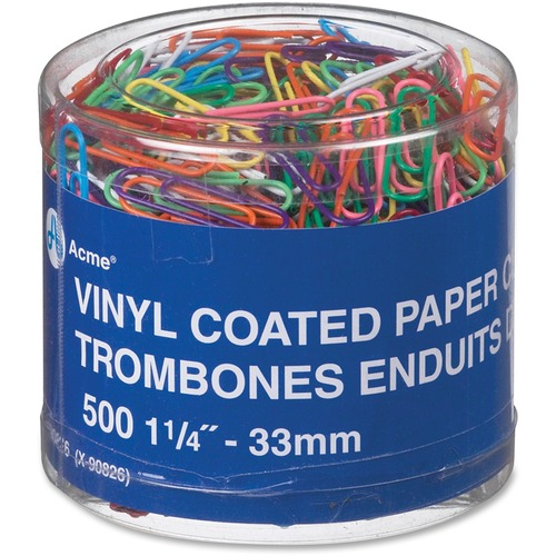 """Acme United Paper Clip - 1.3"""" Size Capacity - 500 / Pack - Assorted - Vinyl"""