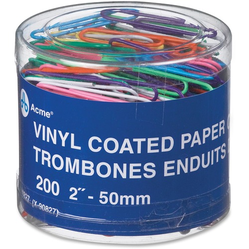 """Acme United Paper Clip - 2"""" Size Capacity - 200 / Pack - Assorted - Vinyl"""