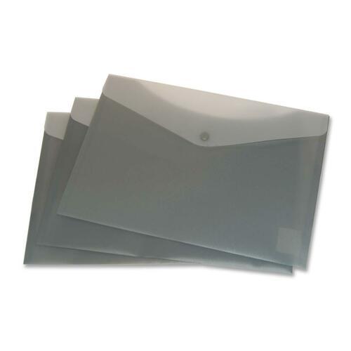 """VLB Letter Vinyl File Pocket - 8 1/2"""" x 11"""" - 2 Front & Back Pocket(s) - Polypropylene - Charcoal - 6 / Pack"""