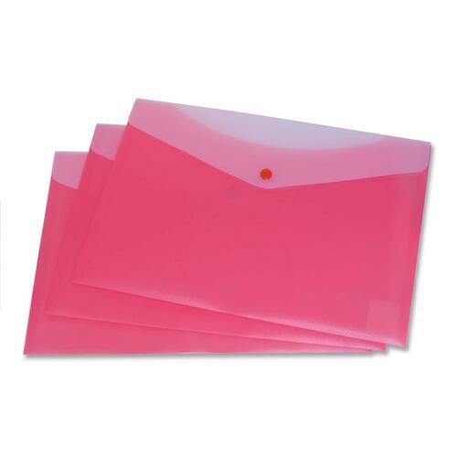 """VLB Letter Vinyl File Pocket - 8 1/2"""" x 11"""" - 2 Front & Back Pocket(s) - Polypropylene - Strawberry - 1 Each"""