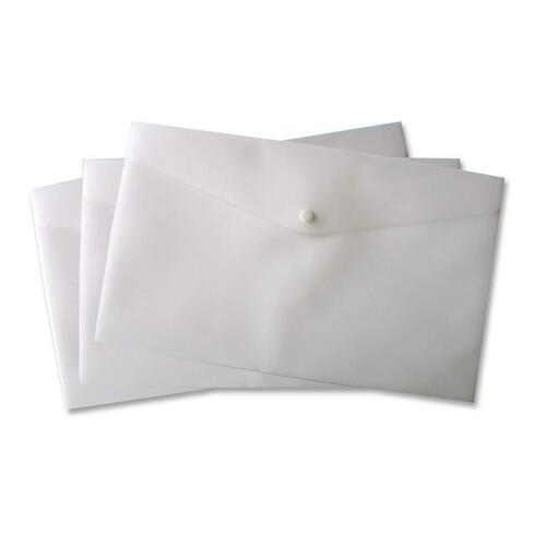"""VLB Letter Vinyl File Pocket - 8 1/2"""" x 11"""" - 2 Front & Back Pocket(s) - Polypropylene - Snow - 1 Each"""