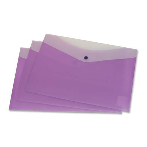 """VLB Letter Vinyl File Pocket - 8 1/2"""" x 11"""" - 2 Front & Back Pocket(s) - Polypropylene - Grape - 1 Each"""