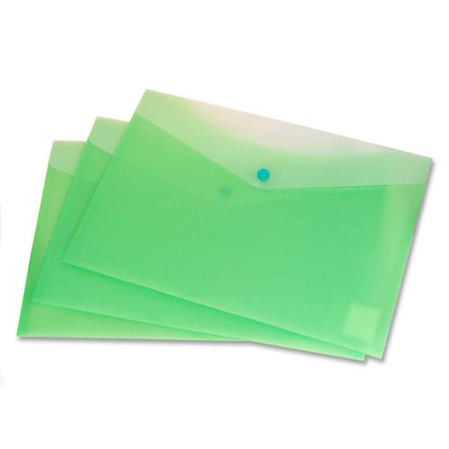 """VLB Letter Vinyl File Pocket - 8 1/2"""" x 11"""" - 2 Front & Back Pocket(s) - Polypropylene - Lime - 1 Each"""