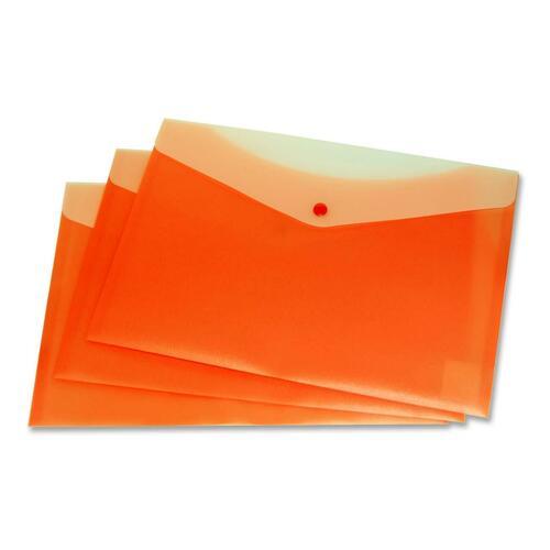 """VLB Letter Vinyl File Pocket - 8 1/2"""" x 11"""" - 2 Front & Back Pocket(s) - Polypropylene - Tangerine - 1 Each"""