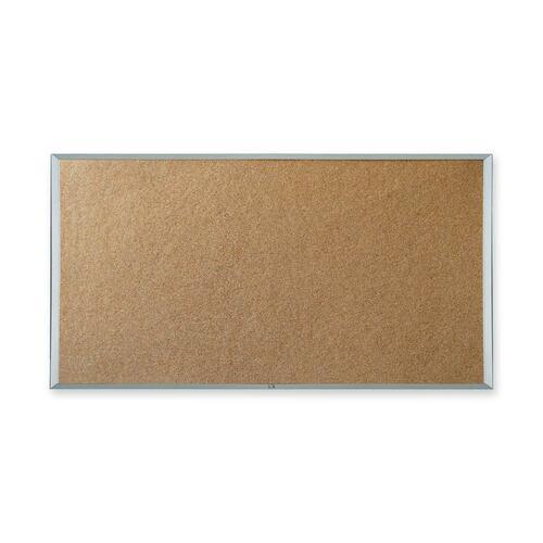 """Quartet Webco Bulletin Board - 36"""" (914.40 mm) Height x 48"""" (1219.20 mm) Width - Cork Surface - Aluminum Frame - 1 Each"""
