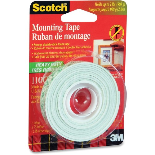 "3M Scotch General Purpose Mounting Tape - 6.3 ft (1.9 m) Length x 0.50"" (12.7 mm) Width - Foam - 1 Each - Clear"