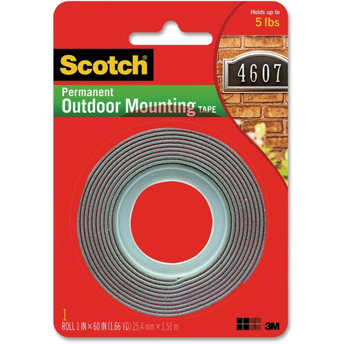 """3M Scotch Exterior Mounting Tape - 5 ft (1.5 m) Length x 1"""" (25.4 mm) Width - 1 Each"""