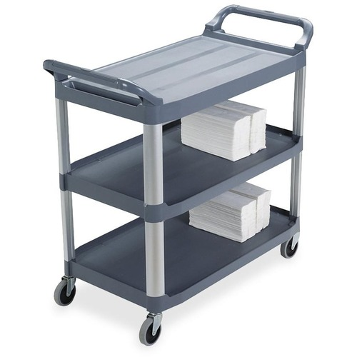 """Rubbermaid X-Tra Mobile Utility Cart - 3 Shelf - 136.08 kg Capacity - 4 Casters - 4"""" (101.60 mm) Caster Size - Aluminum - x 37.8"""" Width x 20"""" Depth x 40.8"""" Height - Gray - 1 Each"""