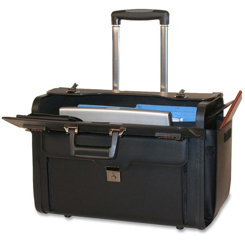 """Bond Street Carrying Case for 17"""" Notebook - Black - Leather - 1 Pack"""