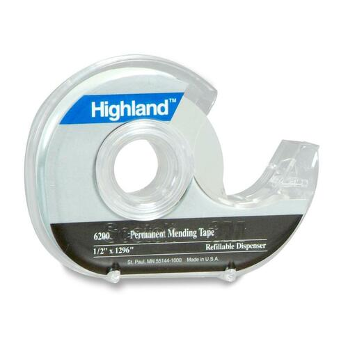 """3M Highland Permanent Invisible Tape with Dispenser - 36 yd (32.9 m) Length x 0.75"""" (19 mm) Width - Dispenser Included - 1 Each"""