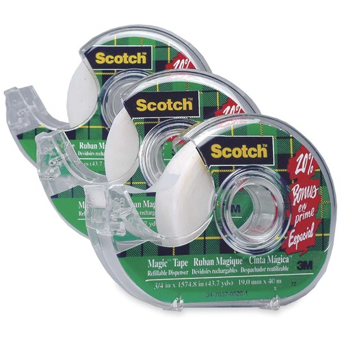"""3M Scotch Magic transparent Tape with Dispenser - 27.3 yd (25 m) Length x 0.75"""" (19 mm) Width - 1"""" Core - Dispenser Included - 1 / Pack"""