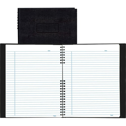 """Blueline NotePro Lizard-Look Notebook - 200 Sheets - Wire Bound - 8 1/2"""" x 11"""" - White Paper - Black Cover - Self-adhesive, Index Sheet, Micro Perforated, Acid-free, Hard Cover - Recycled - 1Each"""