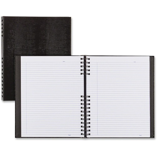 """Blueline NotePro Twin-wire Composition Notebook - 300 Sheets - Twin Wirebound - 11"""" x 8 1/2"""" - Black Cover - Hard Cover, Micro Perforated, Index Sheet, Self-adhesive, Pocket - Recycled - 1Each"""