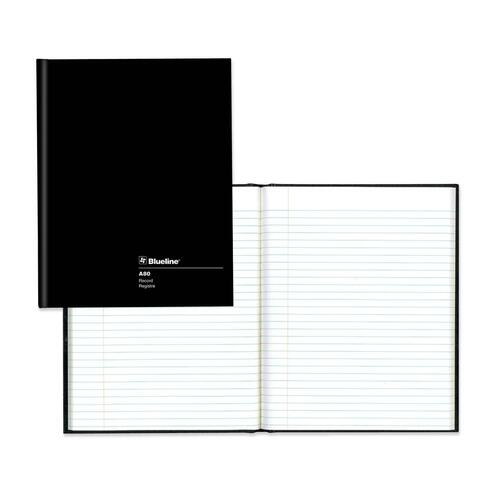 """Blueline Hard Cover Composition Book - 144 Pages - Perfect Bound - Ruled - 9 1/4"""" x 7 1/4"""" - White Paper - Black Cover - Hard Cover - Recycled - 1Each"""