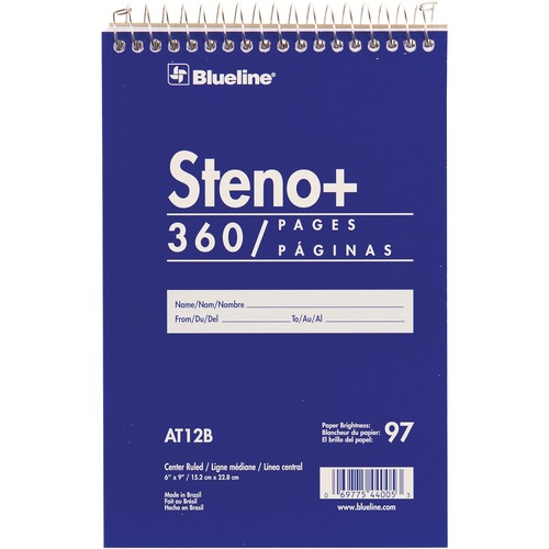 """Blueline White Paper Wirebound Steno Pad - 350 Sheets - Wire Bound - Front Ruling Surface - 6"""" x 9"""" - White Paper - Cardboard Cover - Stiff-cover - 1Each"""