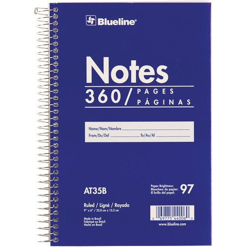 """Blueline White Paper Wirebound Steno Pad - 360 Sheets - Spiral - Front Ruling Surface - 9"""" x 6"""" - White Paper - Blue Cover - Cardboard Cover - Flexible Cover - 1Each"""