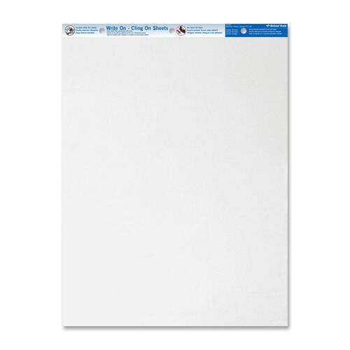 """Blueline Write On Cling Easel Pad - 35 Sheets - Plain - 27"""" x 34"""" - White Paper - Micro Perforated, Easy Tear - 1Each"""
