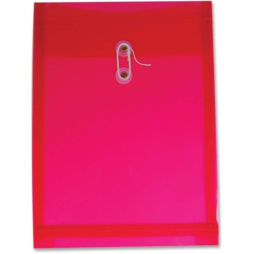 """Winnable Transparent Poly Inter-Department Envelope - Clasp - 9 1/2"""" Width x 13"""" Length - Poly - 1 Each - Red"""