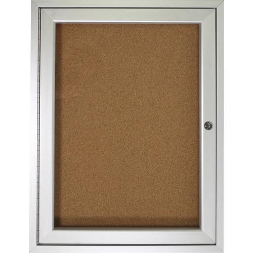 "Ghent 1-door Enclosed Indoor Bulletin Board - 36"" (914.40 mm) Height x 24"" (609.60 mm) Width - Cork Surface - Shatter Resistant - 1 Each"