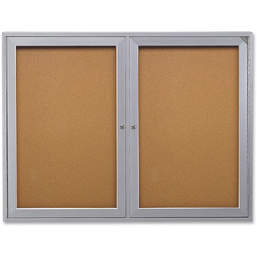 """Ghent 2-Door Enclosed Bulletin Board - 48"""" (1219.20 mm) Height x 36"""" (914.40 mm) Width - Cork Surface - Shatter Resistant - 1 Each"""