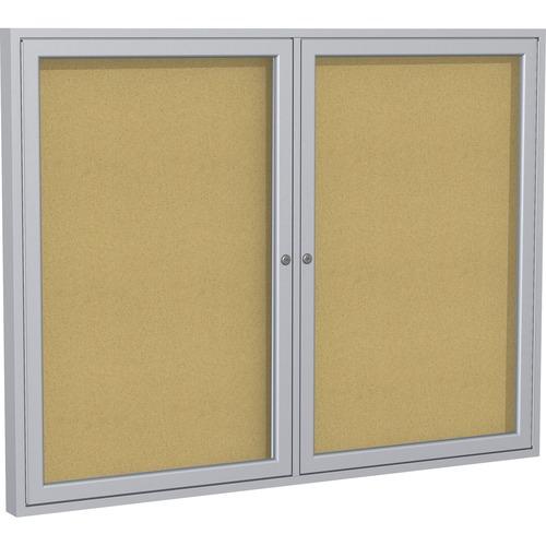 "Ghent 2-Door Enclosed Bulletin Board - 36"" (914.40 mm) Height x 60"" (1524 mm) Width - Cork Surface - Shatter Resistant, Self-healing - Satin Aluminum Frame - 1 Each"