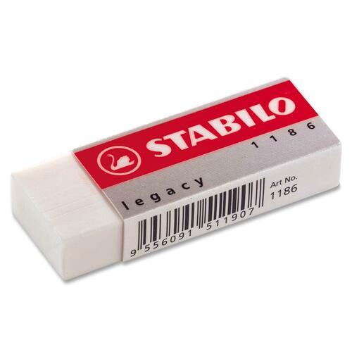 "Schwan-STABILO Legacy Superior Plastic Eraser - White - Plastic - 2.43"" (61.72 mm) Width x 0.43"" (10.92 mm) Height x 0.87"" (22.10 mm) Depth x - 1 Each"