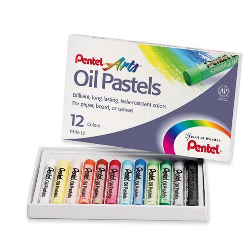 Pentel Round Stic Oil Pastel - Assorted - 12 / Set