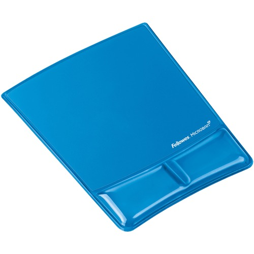 "Fellowes Mouse Pad / Wrist Support with Microban® Protection - 0.9"" x 8.3"" x 9.9"" Dimension - Blue - Gel Cushion, Polyurethane"