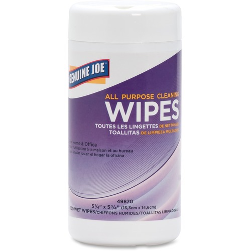 """Genuine Joe All Purpose Cleaning Wipes - Wipe - 5.13"""" Width x 5.88"""" Length - 100 / Canister - 1 Each"""