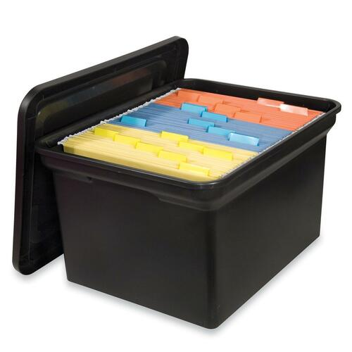 Sparco Hanging File Tote w Lid 14 18x17 78x10 34 Black