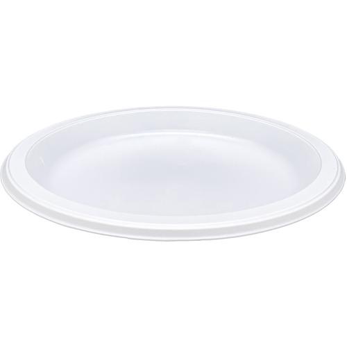 "Genuine Joe 10-1/4"" Large Plastic Plates - 10.25"" (260.35 mm) Diameter Plate - Plastic Plate - White - 125 Piece(s) / Pack"