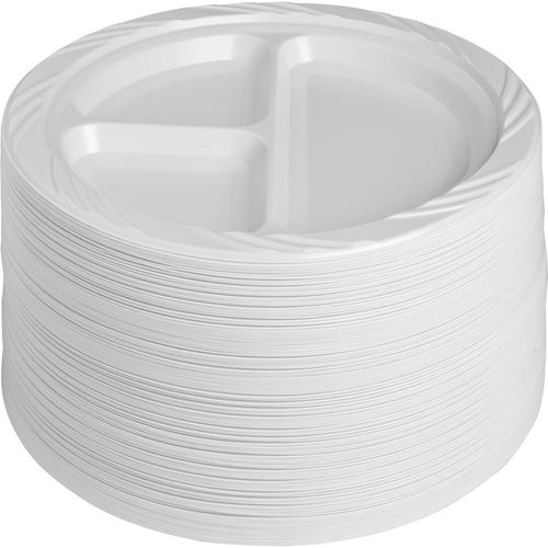 "Genuine Joe 3-section Plastic Plates - 9"" (228.60 mm) Diameter Plate - Plastic - White - 125 Piece(s) / Pack"