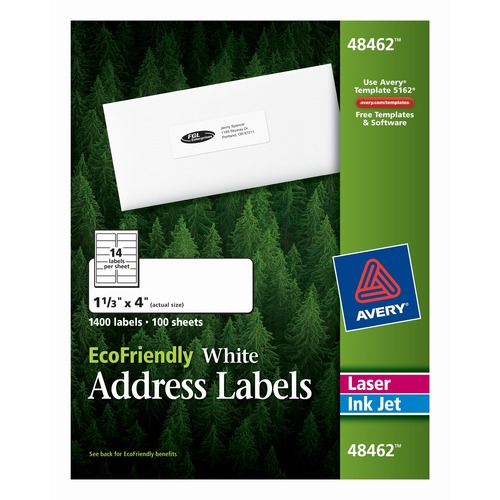 Avery Ecofriendly Address Labels Permanent Adhesive 1 Width X