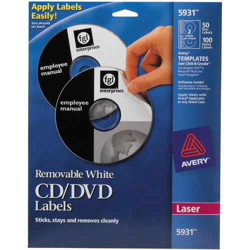 Avery® 5931 Laser Labels Shuttered Jewel Case Inserts With Software for CD/DVD - Removable Adhesive - Laser - White - Paper - 50 / Pack
