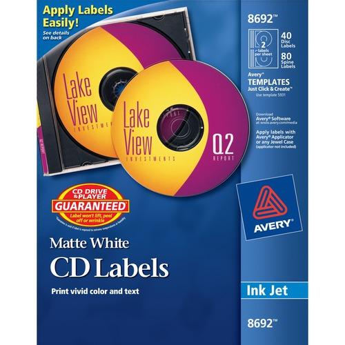 Avery® CD/DVD Label - Permanent Adhesive - Inkjet - White - 40 Sheet