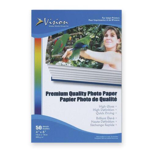 "Vision Inkjet Photo Paper - White - 4"" x 6"" - Glossy - 50 / Pack"