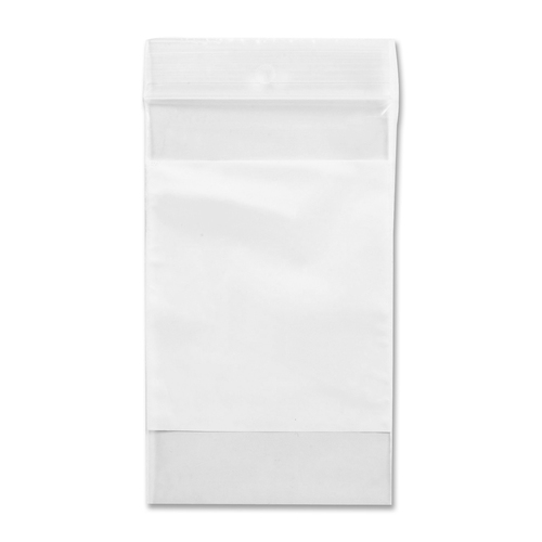 """Crownhill Reclosable Poly Bag - 3"""" (76.20 mm) Width x 2"""" (50.80 mm) Length x 2 mil (51 Micron) Thickness - Clear, White - Vinyl - 100/Pack - Food, Storage"""