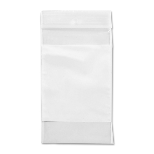 """Crownhill Reclosable Poly Bag - 5"""" (127 mm) Width x 3"""" (76.20 mm) Length x 2 mil (51 Micron) Thickness - Clear, White - Vinyl - 100/Pack - Food, Storage"""