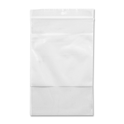"""Crownhill Reclosable Poly Bag - 6"""" (152.40 mm) Width x 4"""" (101.60 mm) Length - Clear, White - Vinyl - 100/Pack - Food, Storage"""