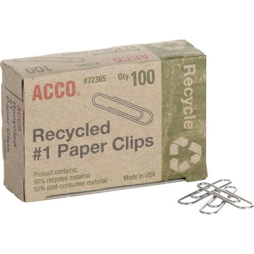 Acco Recycled Paper Clips - No. 1 - 10 Sheet Capacity - Durable, Reusable - Silver - Metal