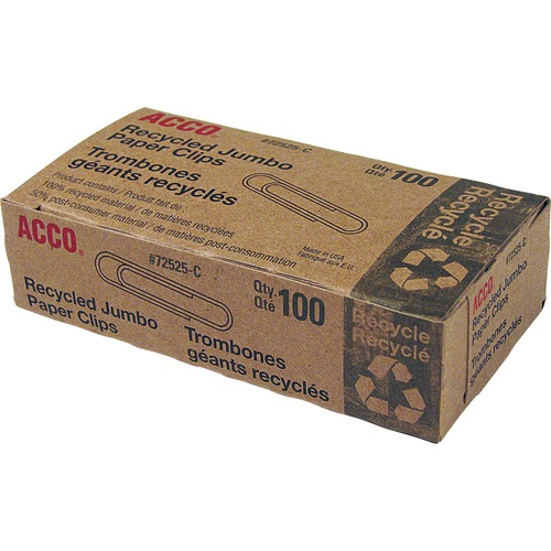 Acco Recycled Paper Clips - Jumbo - 20 Sheet Capacity - Reusable, Durable - 100 / Box - Silver - Metal